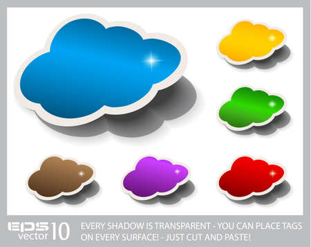 Stylish Cloud Speech Bubble for Cloud Computing concept. Shadows are transparent so you can copy and paste in on every surfacel Vector