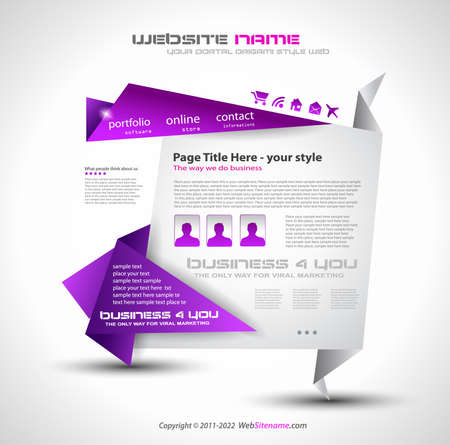 Origami Website - Elegant Design for Business Presentations. Template with a lot of design elements. Every Shadow is transparent Stock Vector - 9935612
