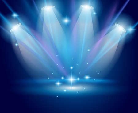 b�hne: Magische Strahler mit Blaue Strahlen und Gl�heffekt f�r Mensch und Produktwerbung. Alle Lichter und Schatten sind transparent.