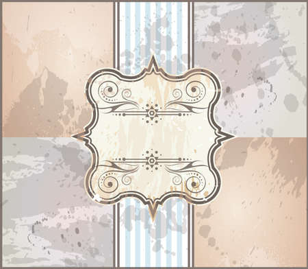 label frame: Elegant Vintage Frame with Grunge style background and decorated label with space for your text. Illustration