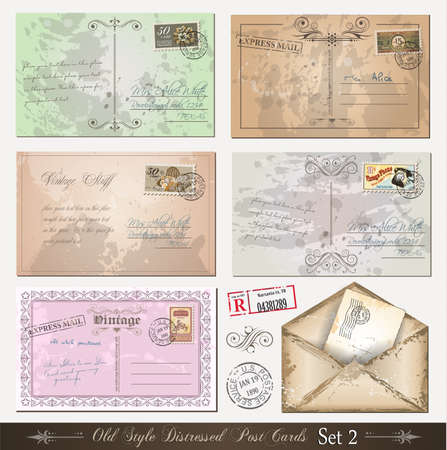 Old style distressed postcards (set 2)with a lot of post stamps with vintage designs. Rubber stamps included. Vector