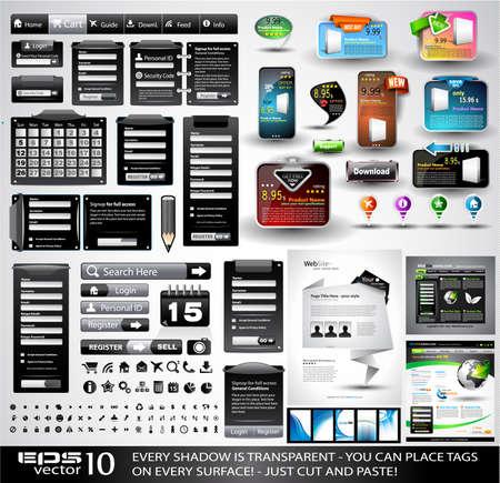 Web Collection Stuff nero Extreme: 3 siti web completi, centinaia di icone, intestazioni, piè di pagina, moduli di login, etichetta carta con un'ombra trasparente, adesivi, biglietti da visita e così via