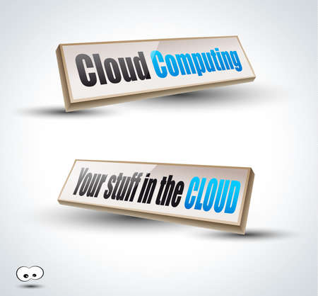 Clouds Computing 3D Panels with Transparent Shadows and glossy reflection. Ready to copy and past on every surface. Stock Vector - 10085467