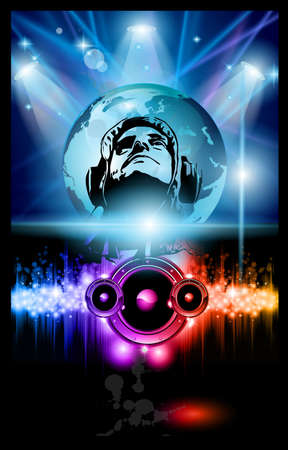 jockeys: Alternative Discoteque Music Flyer with Attractive Rainbow Colours Illustration
