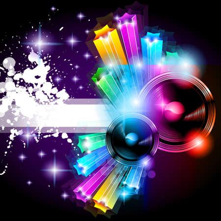 Volante de música discoteca alternativa con atractivos colores de arco iris y una explosión de luces y colurs. Ilustración de vector