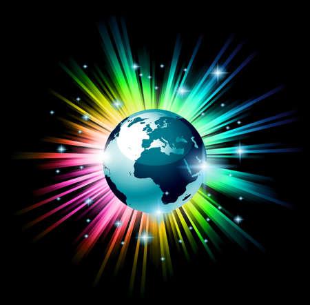 Accurate globo illustrazione della Terra 3D con l'esplosione di una luce d'arcobaleno dietro il pianeta, nello spazio profondo pieno di stelle brillanti. Vettoriali