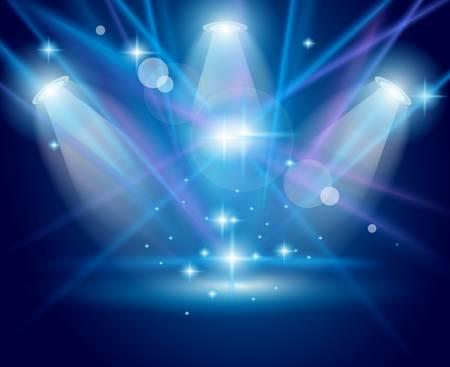 estrellas: Magic focos con rayas azules y brillante efecto para publicidad de productos o personas. Todas las luces y sombra son transparentes.