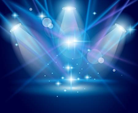 Magic Spotlights with Blue rays and glowing effect for people or product advertising. Every lights and shadow are transparent. Stock Vector - 10085458