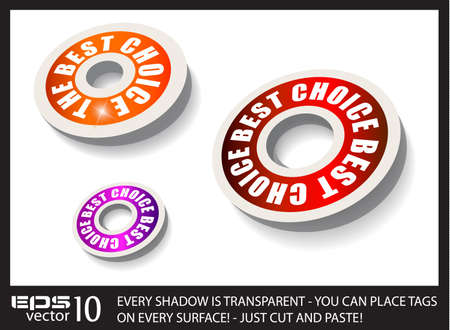 Red Paper Circular Style tags with transparent shadows. You can place it on every surface! Vector