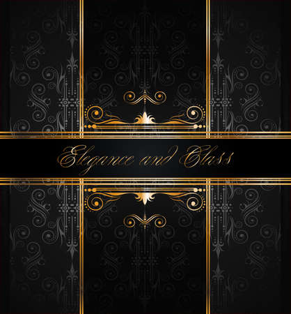 Elegant seamless wallpaper with golden fine decoration and place for your text. Ideal to use for classic invitation flayer or card. Vector