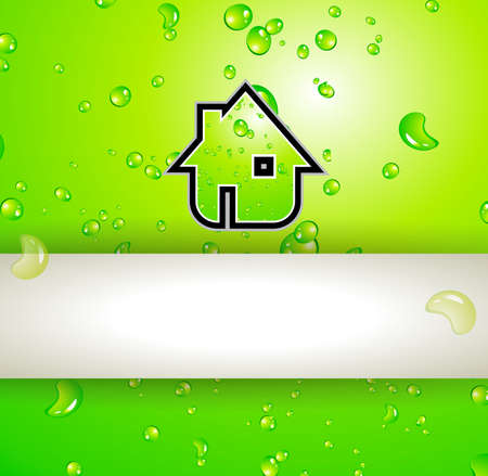 Green Real Estate water drops background for advertising of available bio houses or eco buildings for sale. Shadow is transparent. Vector