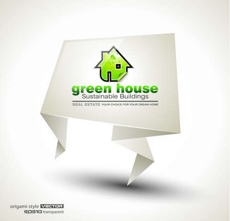 Green Real Estate abstract origami paper stand ofr advertising of available bio houses or eco buildings for sale. Shadow is transparent. Vector