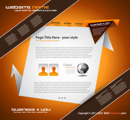 Origami Website - Elegant Design for Business Presentations. Template with a lot of design elements. Every Shadow is transparent Stock Vector - 10215626