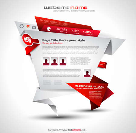 Origami Website - Elegant Design for Business Presentations. Template with a lot of design elements. Every Shadow is transparent Stock Vector - 10215639