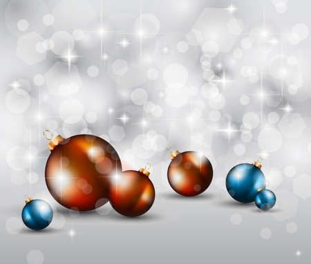 Merry Christmas Elegant Suggestive Background for Greetings Card with glitter lights and stunning baubles. Vector