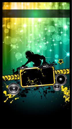 disk jockey: Disco Event Poster with a Disk Jockey  remixing two disks with a waterfall of glitters lghts on the back and space for your music text and details.