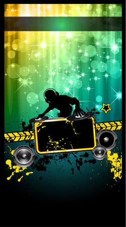 Event Poster Disco con un disk jockey remixare due dischi con una cascata di luccica lghts sul retro e lo spazio per il testo musicale e dettagli.