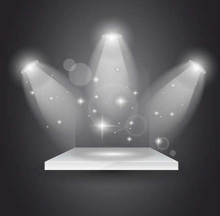 spotlight lamp: Faretti magici con raggi di luce e di effetto incandescente per persone o pubblicit� di prodotto.  Vettoriali