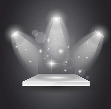stage spotlight: Magic Spotlights with light rays and glowing effect for people or product advertising.