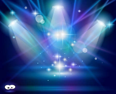 live entertainment: Magic Spotlights with Blue rays and glowing effect for people or product advertising. Every lights and shadow are transparent.