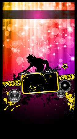 Disco Event Poster with a Disk Jockey  remixing two disks with a waterfall of glitters lghts on the back and space for your music text and details. Vector