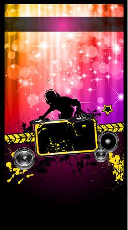 disk jockey: Discoteca evento Poster con un Disk Jockey remixare due dischi con una cascata di lghts luccica sul retro e spazio per il testo di musica e dettagli.
