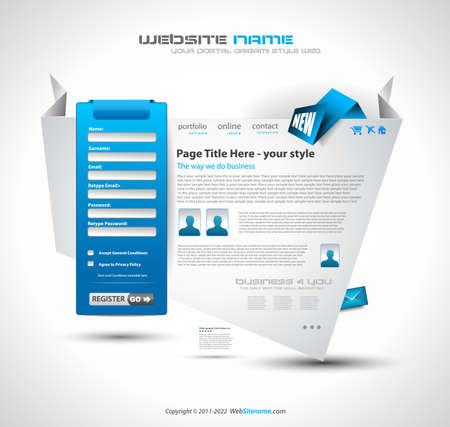 Origami Website - Elegant Design for Business Presentations. Template with a lot of design elements. Every Shadow is transparent Stock Vector - 10298546
