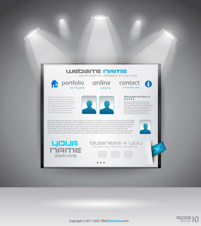Original Style shopfront showroom website template with spotlights featuring the main panel and design elements.  Vector