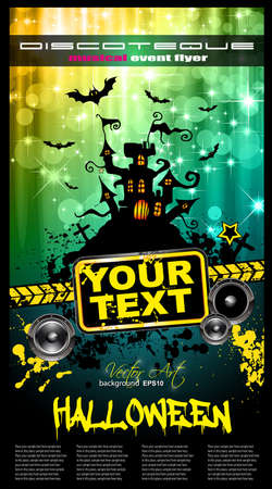 Suggestive Hallowen Party Flyer for Entertainment Night Event with a lot of space for your text. Vector