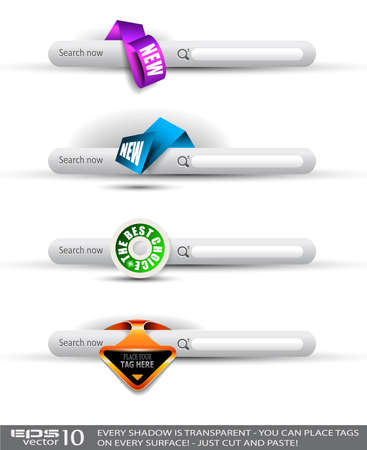 Set of modern original style search banners and web headers with various label tags for your text. Shadows are all transparents so you can place it on every surface. Stock Vector - 10376611