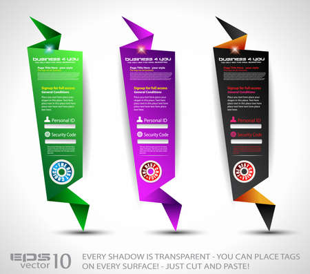 login form: Origami Website vertical login form panels or banner to use for original style template designs for business elegant presentation.