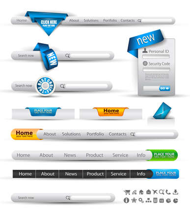 Set of modern original style search banners and web headers with various label tags for your text. Shadows are all transparents so you can place it on every surface.