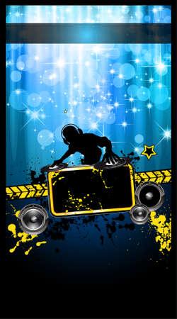 disk jockey: Gurnge Stile Disco Flyer alternativi per gli eventi musicali di notte con la forma del disco fantino e una cascata di luci ray in background