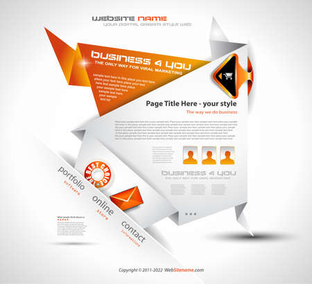Origami Website - Elegant Design for Business Presentations. Template with a lot of design elements. Every Shadow is transparent Stock Vector - 10422939