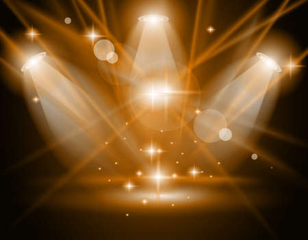 spotlight on stage: Magic Spotlights with GOLD rays and glowing effect for people or product advertising