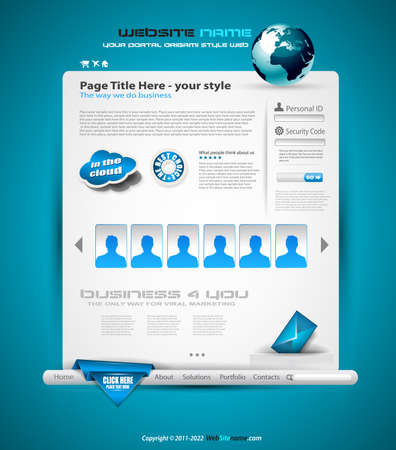 Hitech Style business website template for elegant corporate sites with a lot of desgin elements included. Shadows are transparent. Vector