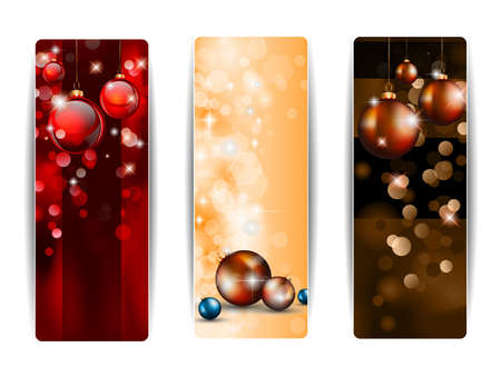 Christmas Vertical Banners with stunning  backgrounds full of glitter and glossy baubles.  Illustration