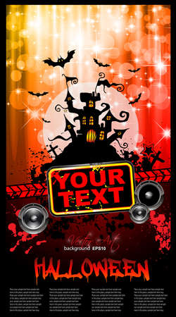 suggestive: Suggestive Hallowen Party Flyer for Entertainment Night Event with a lot of space for your text.and red drops of blood in the background Illustration