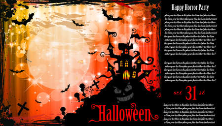 suggestive: Suggestive Hallowen Party Flyer for Entertainment Night Event with a lot of space for your text.and an horror caslte in the background Illustration
