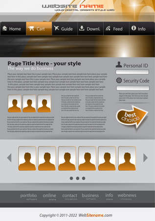 Hitech Style business website template for elegant corporate sites with a lot of desgin elements included. Shadows are transparent. Stock Vector - 10491209