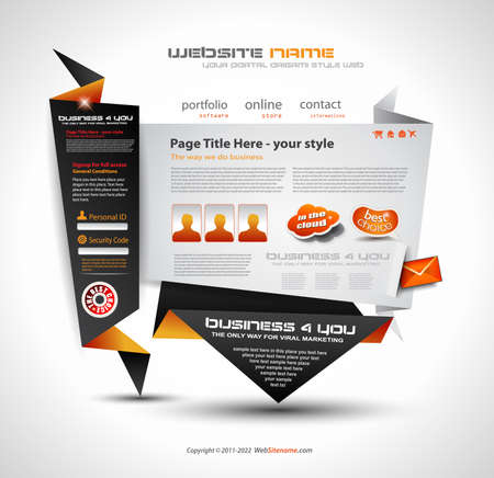 Origami Website - Elegant Design for Business Presentations. Template with a lot of design elements. Every Shadow is transparent Stock Vector - 10491219