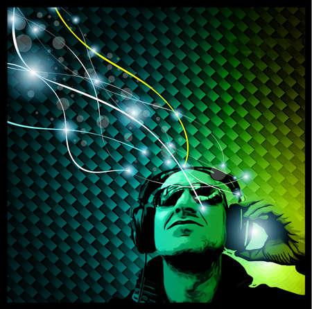 flyer musique: Flyer Disco Music avec la forme Disk Jockey et les lumi�res Rainbow. Pr�t pour l'affiche de l'�v�nement nuit. Illustration