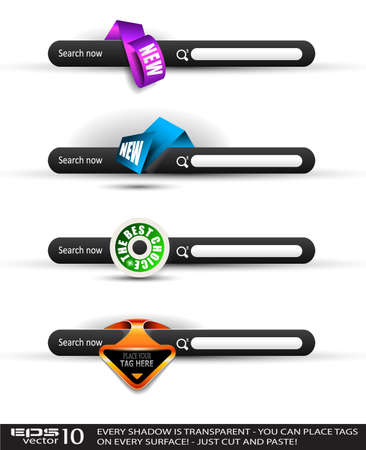 Set of modern original style search banners with various label tags for your text. Shadows are all transparents so you can place it on every surface. Vector