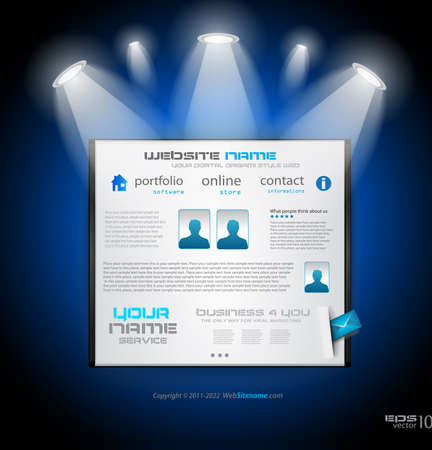 Original Style shopfront showroom website template met spots met de belangrijkste paneel en design elementen. Vector Illustratie
