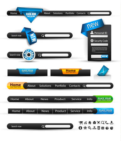 Set of modern original style search banners and web headers with various label tags for your text. Shadows are all transparents so you can place it on every surface. Vector