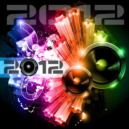 2012 New Year celebration background for music night disco Flyer or poster with a speaker elements and rainbow colours. Stock Vector - 10563565