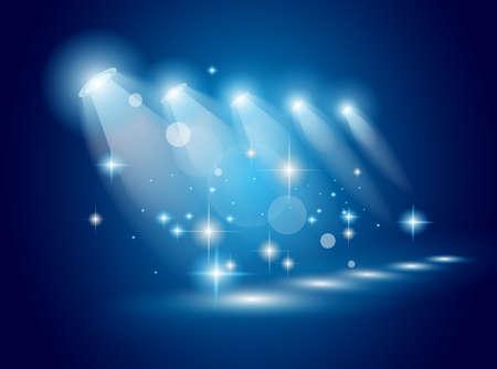 spotlight lamp: Faretti magici con i raggi blu e l'effetto luminoso per le persone o la pubblicit� del prodotto. Ogni luci e ombre sono trasparenti.