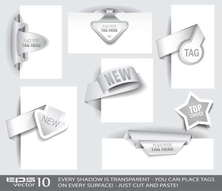 Paper Tag Collection with delicate transparent shadows. Different shapes to use over images or picture frames and isolated ready to be placed on every surface. Vector