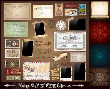 tan: Vintage cosas extremas colecci�n - 3 transparente wallpaper, un pergamino, photoframes, cintas adhesivas, vintage etiquetas, sellos postales, cinta, etc. Vectores