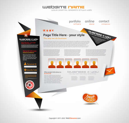 Origami Website - Elegant Design for Business Presentations. Template with a lot of design elements. Every Shadow is transparent Stock Vector - 10700714